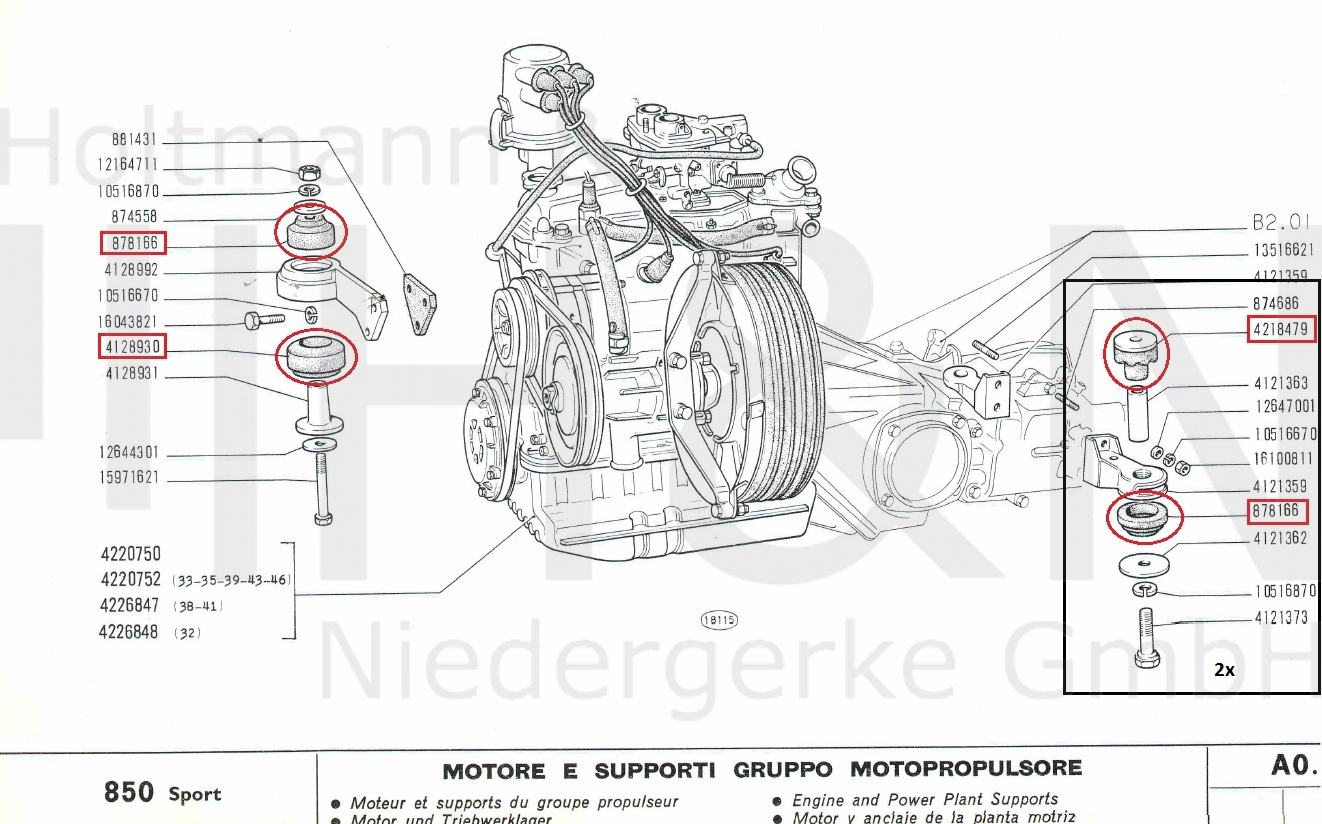 Engine Transmission Mount Set Fiat 850 Sport Spider Diagram
