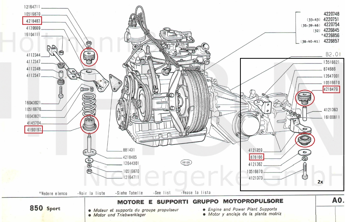 Peachy Engine Transmission Mount Set Fiat 850 N Special Sportcoupe Wiring Database Gramgelartorg